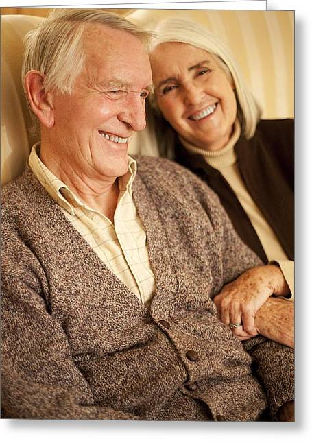 Couple In Arms Greeting Cards - Happy Senior Couple Greeting Card by