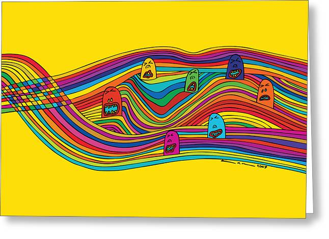 Yellow Line Greeting Cards - Line Faces Greeting Card by Karl Addison
