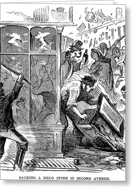 Protesters Greeting Cards - New York: Draft Riots 1863 Greeting Card by Granger