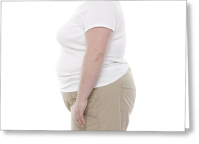 Mid Adult Women Greeting Cards - Overweight Woman Greeting Card by