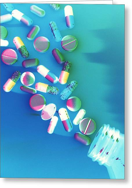Pill Greeting Cards - Pills Greeting Card by Tek Image