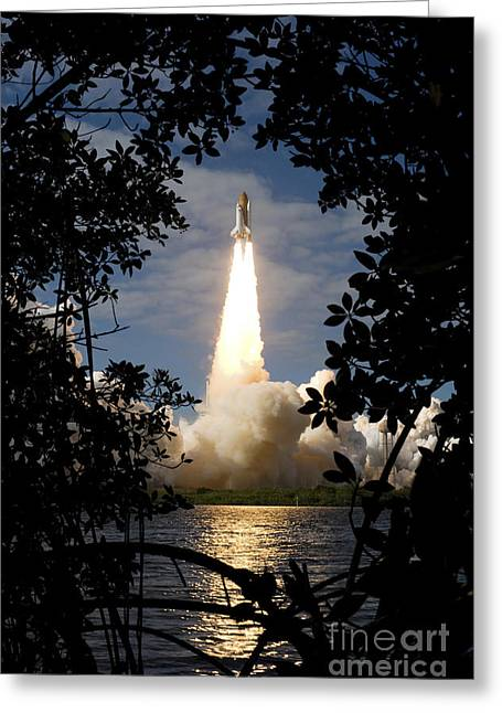 Rocket Boosters Greeting Cards - Space Shuttle Atlantis Lifts Greeting Card by Stocktrek Images