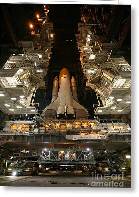 Maintenance Facility Greeting Cards - Space Shuttle Endeavour Greeting Card by Stocktrek Images