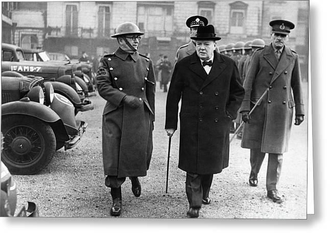 Armband Greeting Cards - Winston Churchill Greeting Card by Granger