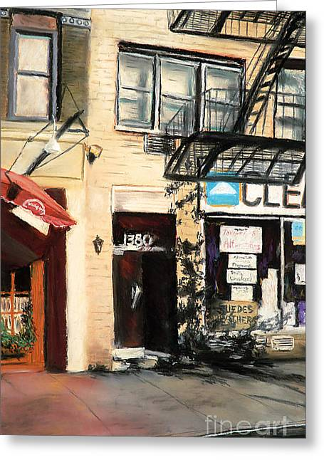City Buildings Pastels Greeting Cards - 1380 1st Avenue Greeting Card by Barry Rothstein