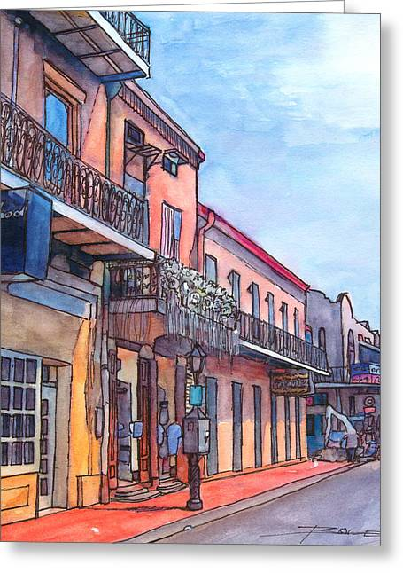 Cajun Drawings Greeting Cards - 14  French Quarter Street Greeting Card by John Boles