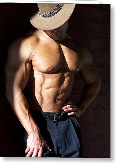 Pecs Digital Greeting Cards - Male Muscle Art Greeting Card by Jake Hartz