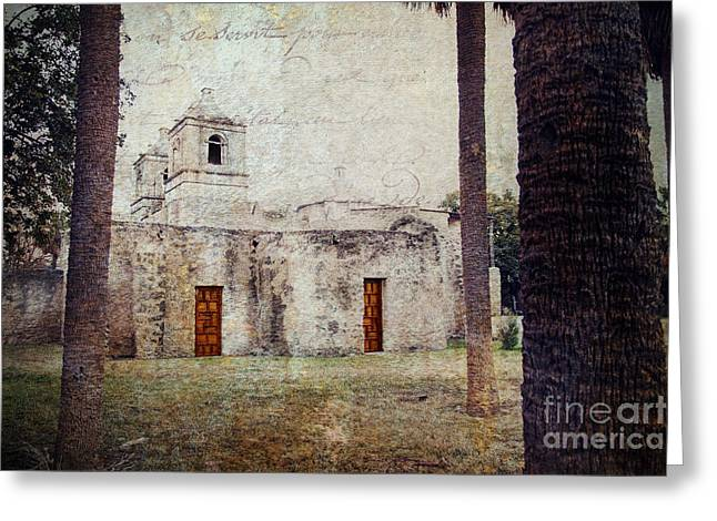 Colonial Building Greeting Cards - Mission Concepcion Greeting Card by Iris Greenwell