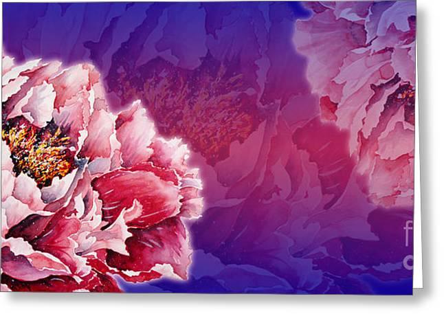Zaira Dzhaubaeva Greeting Cards - Peony Greeting Card by Zaira Dzhaubaeva