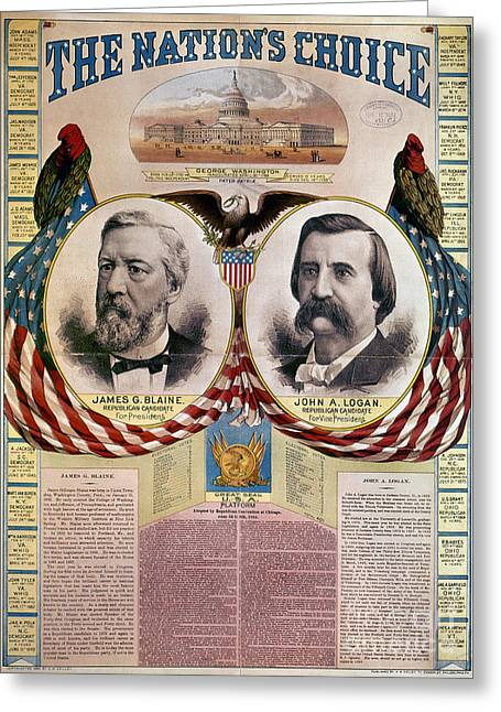 Presidential Elections Greeting Cards - Presidential Campaign, 1884 Greeting Card by Granger