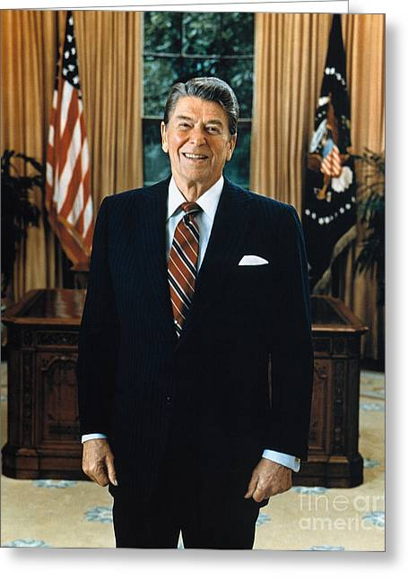 Oval Office Greeting Cards - Ronald Reagan (1911-2004) Greeting Card by Granger