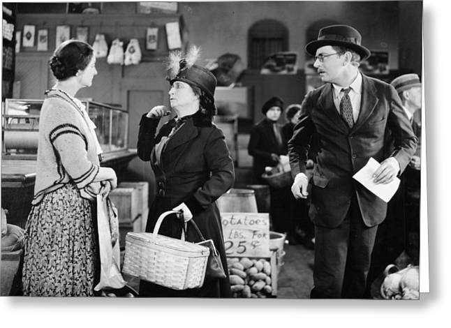 Grocery Store Greeting Cards - Silent Film Still: Stores Greeting Card by Granger