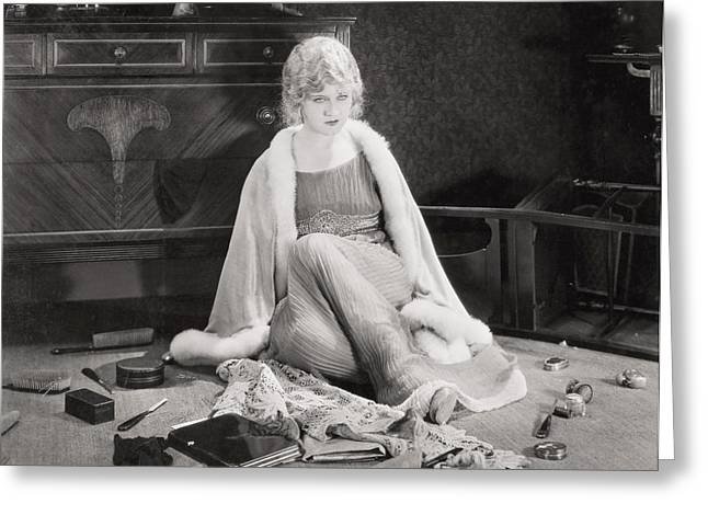 Dressing Room Greeting Cards - Silent Film Still: Woman Greeting Card by Granger