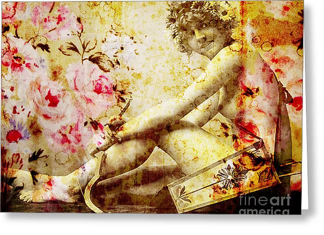 Abstract Digital Mixed Media Greeting Cards - Winsome Woman Greeting Card by Chris Andruskiewicz