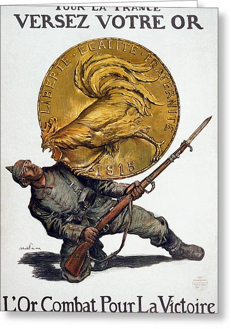 Gallic Greeting Cards - World War I: French Poster Greeting Card by Granger