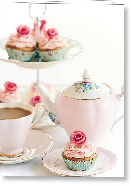 Vintage Teacup Greeting Cards - Afternoon tea Greeting Card by Ruth Black