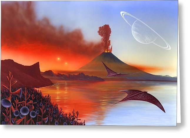 Binary Stars Greeting Cards - Alien Landscape, Artwork Greeting Card by Richard Bizley