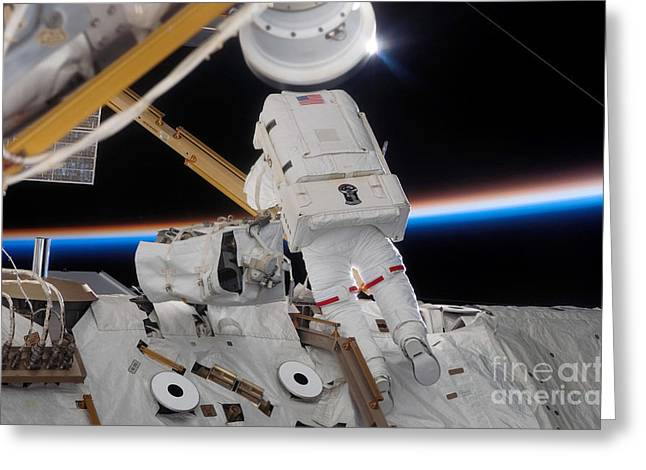 Checking Greeting Cards - Astronaut Participates Greeting Card by Stocktrek Images