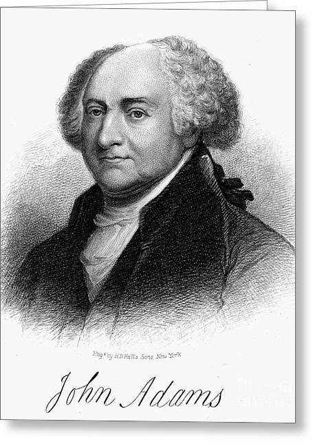 Autograph Greeting Cards - John Adams (1735-1826) Greeting Card by Granger