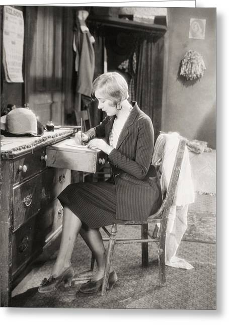 Dressing Room Photographs Greeting Cards - Silent Film Still: Woman Greeting Card by Granger