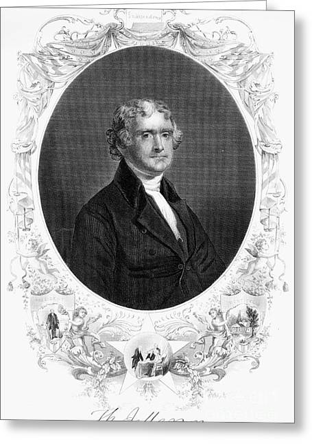 Oval Photographs Greeting Cards - Thomas Jefferson (1743-1826) Greeting Card by Granger