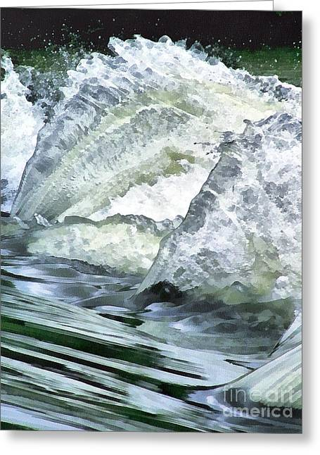 Wildlife Celebration Paintings Greeting Cards - Waterfall Greeting Card by Odon Czintos