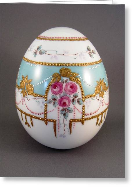 Style Ceramics Greeting Cards - 1503 Egg Faberge Style Greeting Card by Wilma Manhardt