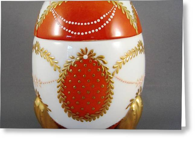1525 Footed Egg-Box red Greeting Card by Wilma Manhardt