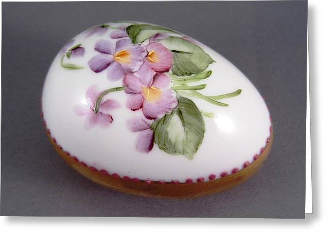 Purples Ceramics Greeting Cards - 1539 Egg with Violets and Goldetching Greeting Card by Wilma Manhardt