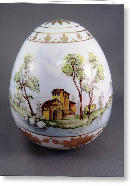Scenes Ceramics Greeting Cards - 1540 Egg with 3 European Scenes Greeting Card by Wilma Manhardt
