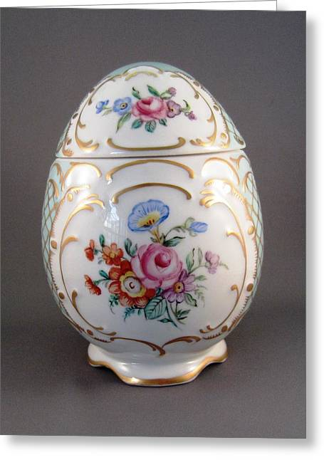 Style Ceramics Greeting Cards - 1544 German  Egg Box Greeting Card by Wilma Manhardt