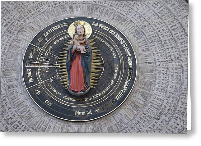 Renaissance Sculpture Greeting Cards - 15th Century Astronomical Clock At St Greeting Card by Keenpress