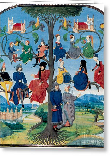 Descendant Greeting Cards - 15th-century Family Tree Greeting Card by Photo Researchers