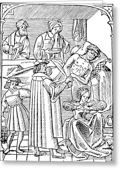 Plague Greeting Cards - 15th Century Woodcut Showing Plague Victim Greeting Card by .
