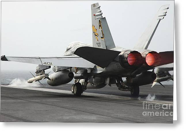 Airplane Engine Greeting Cards - An Fa-18c Hornet Launches Greeting Card by Stocktrek Images