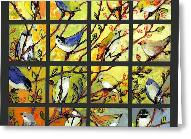 Bird Collage Greeting Cards - 16 Birds Greeting Card by Jennifer Lommers
