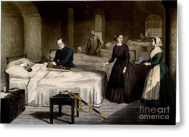 Philanthropist Greeting Cards - Florence Nightingale, English Nurse Greeting Card by Science Source