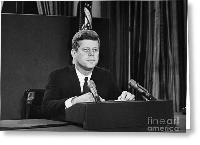 Cuban Missile Crisis Greeting Cards - John F. Kennedy (1917-1963) Greeting Card by Granger