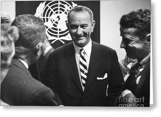 Press Conference Greeting Cards - Lyndon Baines Johnson Greeting Card by Granger