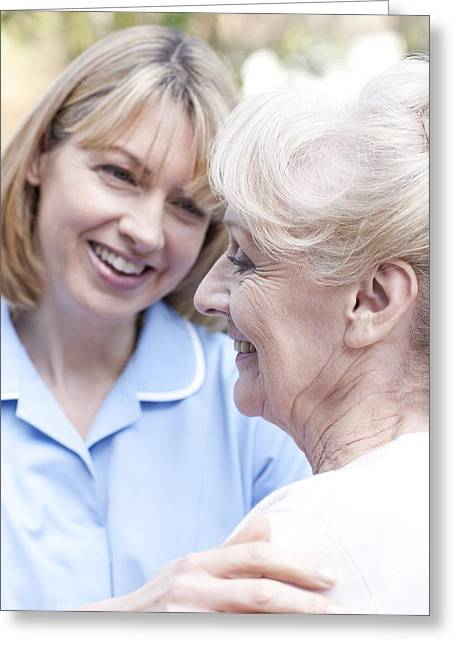District Nurse Greeting Cards - Nurse On A Home Visit Greeting Card by