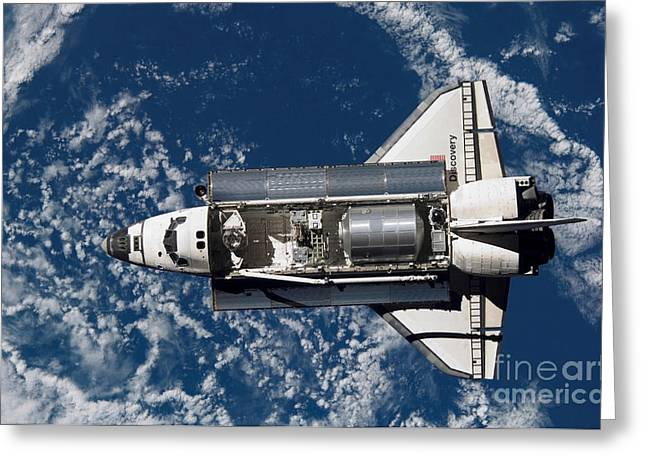 Space Shuttle Photographs Greeting Cards - Space Shuttle Discovery Greeting Card by Stocktrek Images