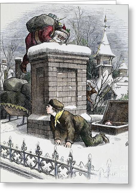 1876 Greeting Cards - Thomas Nast: Santa Claus Greeting Card by Granger