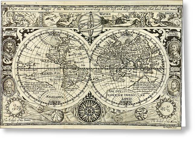 1628 Greeting Cards - 1628 Map of the World Greeting Card by Bill Cannon