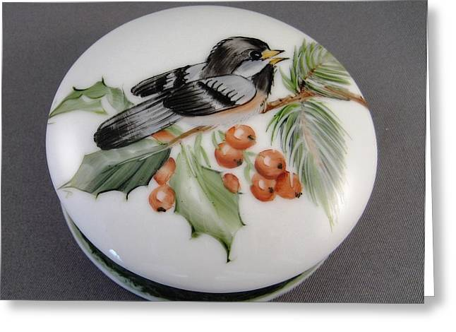 Round Ceramics Greeting Cards - 1647 Chickadee Box Greeting Card by Wilma Manhardt