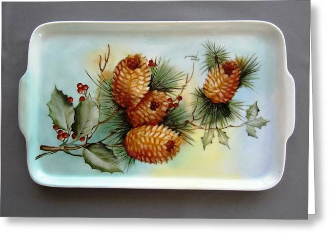 Pine Cones Ceramics Greeting Cards - 1648 Pine Cone Tray Greeting Card by Wilma Manhardt