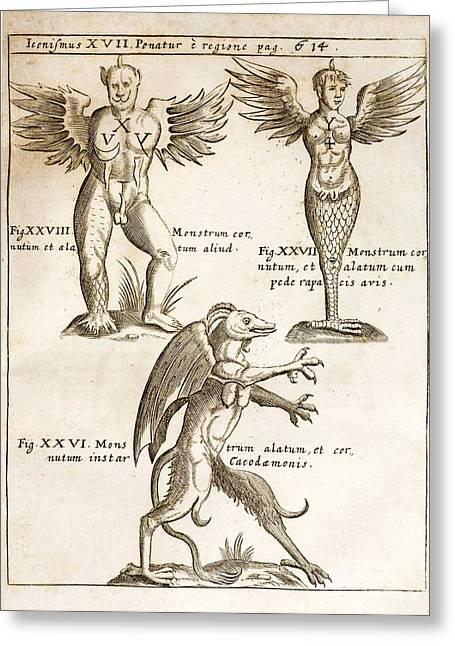 Monstrosity Greeting Cards - 1662 Schott Demons Greeting Card by Paul D Stewart