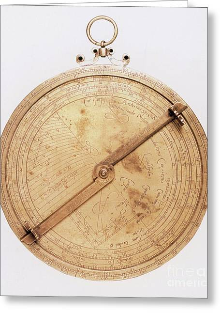 Astronomic Greeting Cards - 16th Century Astrolabe Greeting Card by Science Source