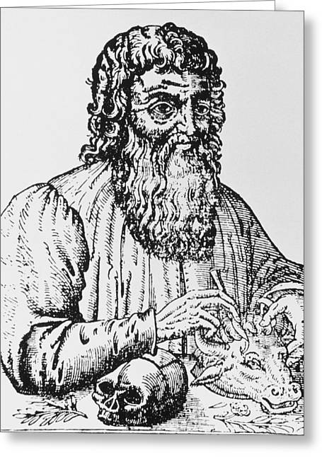 Hippocrates Greeting Cards - 16th Century Woodcut Of Hippocrates. Greeting Card by Dr Jeremy Burgess