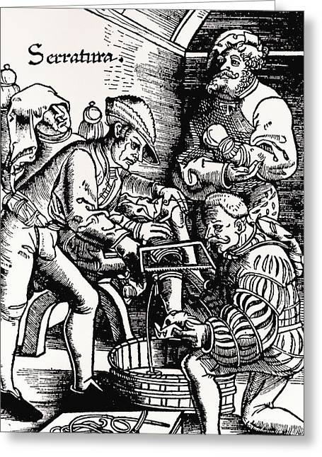 Historical Images Greeting Cards - 16th Century Woodcut Showing Leg Amputation Greeting Card by Dr Jeremy Burgess
