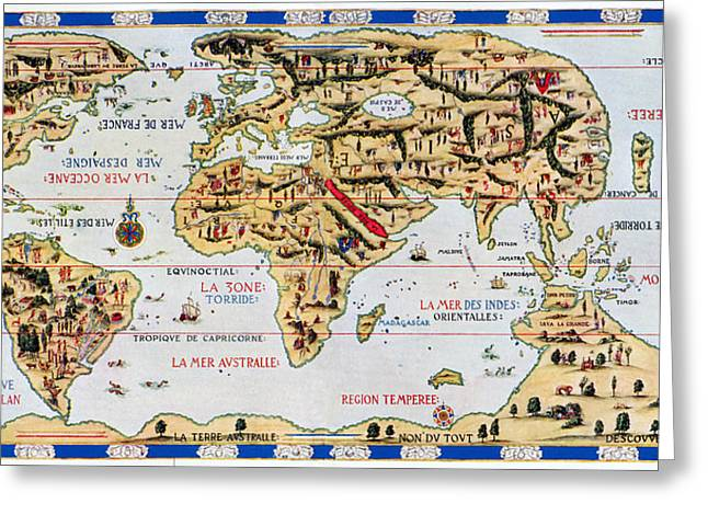 Distortion Greeting Cards - 16th Century World Map Greeting Card by Sheila Terry